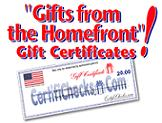 Gifts From the Homefront Gift Certificates