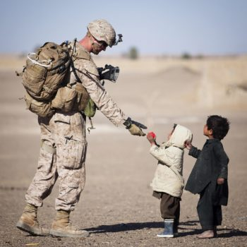military soldiers with kids